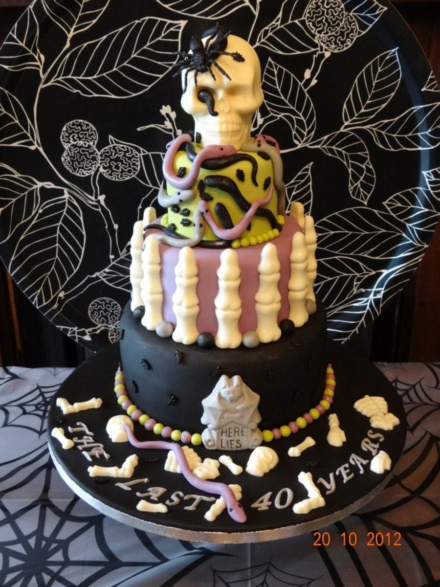 Gothic Halloween Birthday Cake on Cake Central