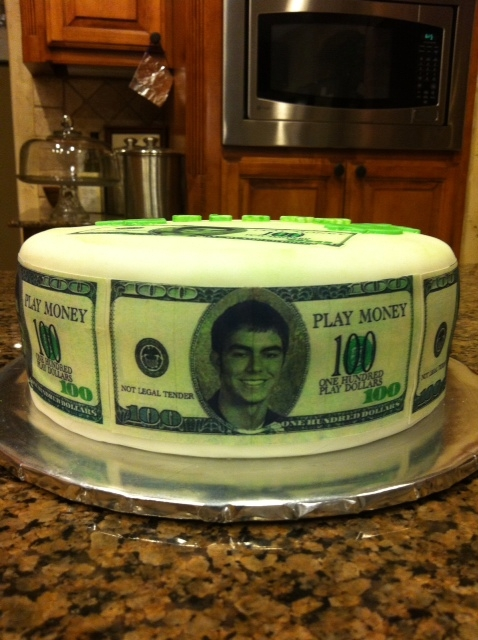 Birthday Cake For 17 Year Old Boy He Wanted Money All Around His So I Put Face In The Middle Of 100 Dollar Bill And Was Thrilled
