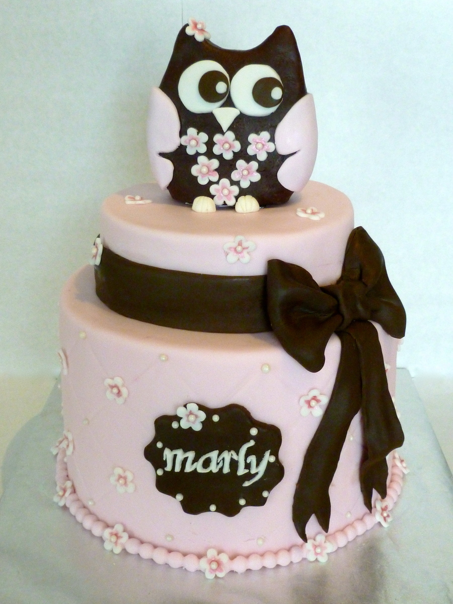 1St Birthday Owl Cake on Cake Central