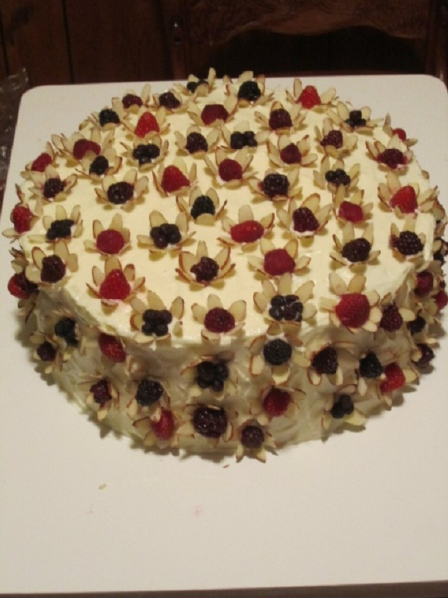 Fruit And Almond Flower Petal Cake  on Cake Central