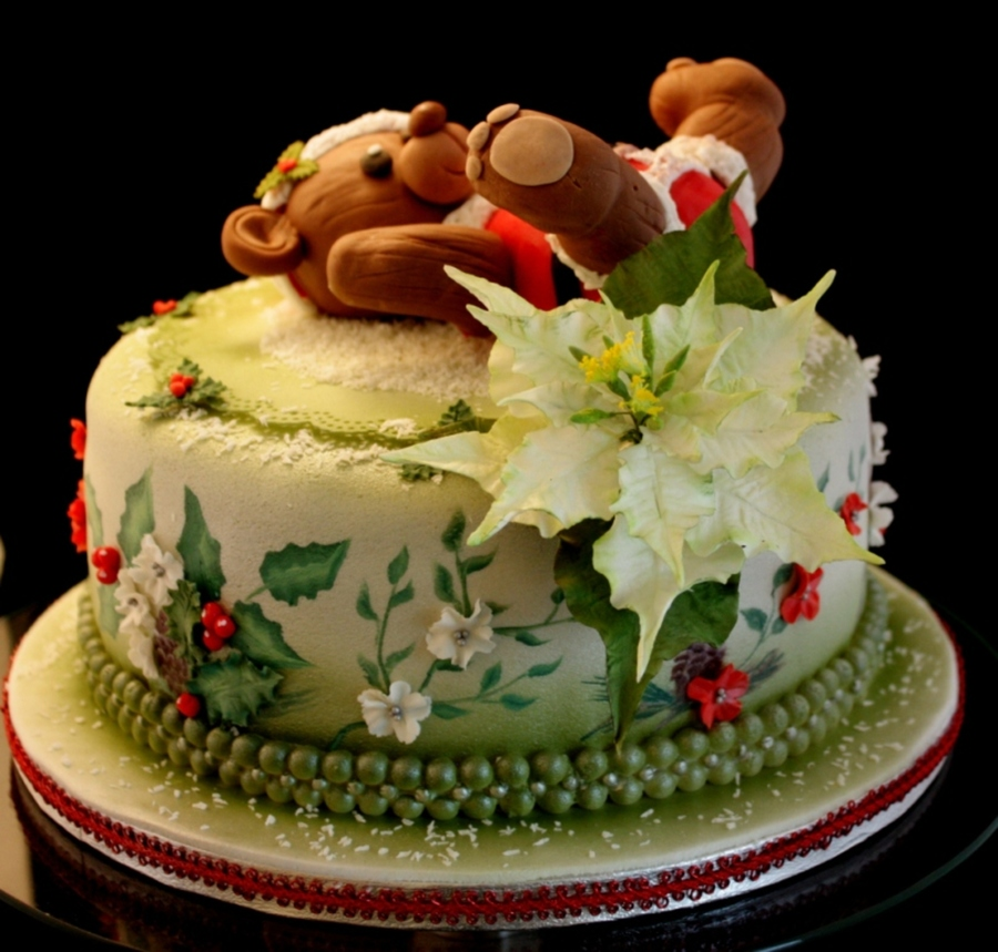 Christmass Cake With One Stroke Painting And 3D Sugar Flowers on Cake Central