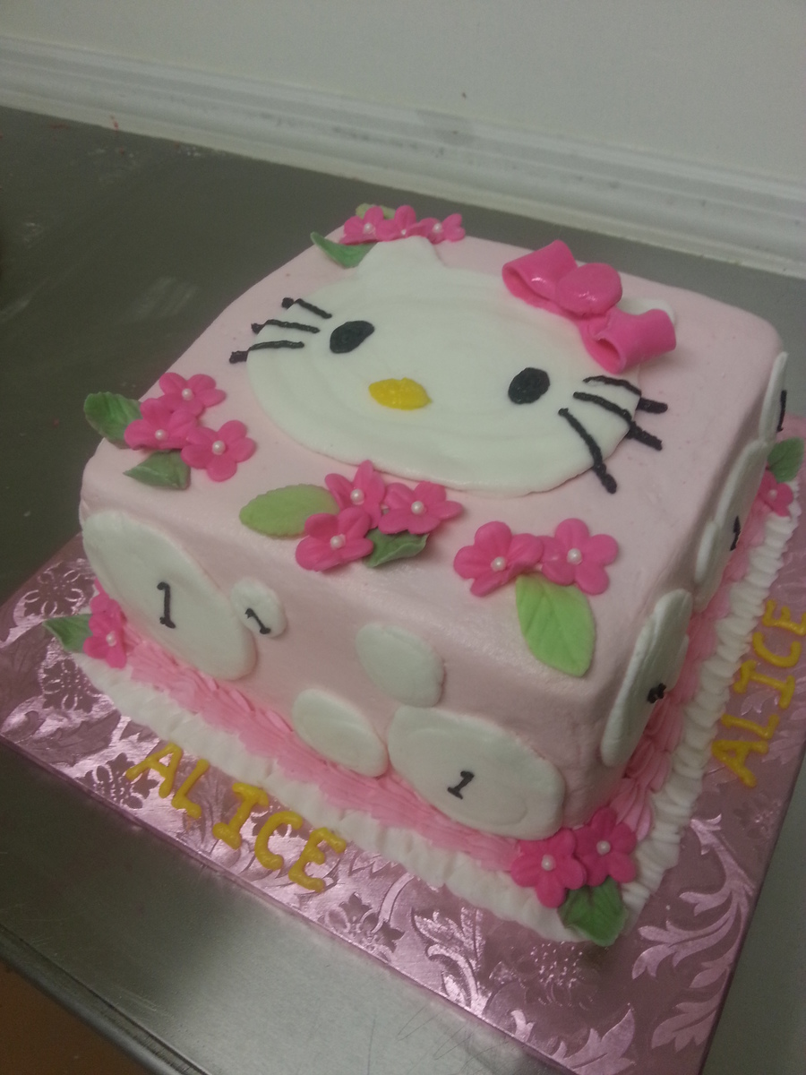 Admirable Hello Kitty First Birthday Cake Is Strawberry With Buttercream Funny Birthday Cards Online Inifodamsfinfo