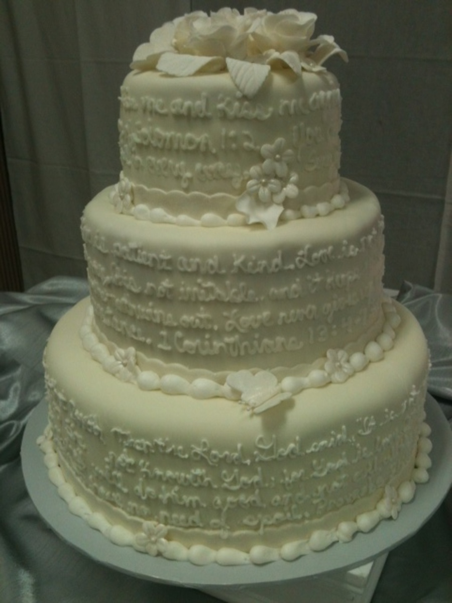 Wedding Cake With Scriptures On The Sides on Cake Central