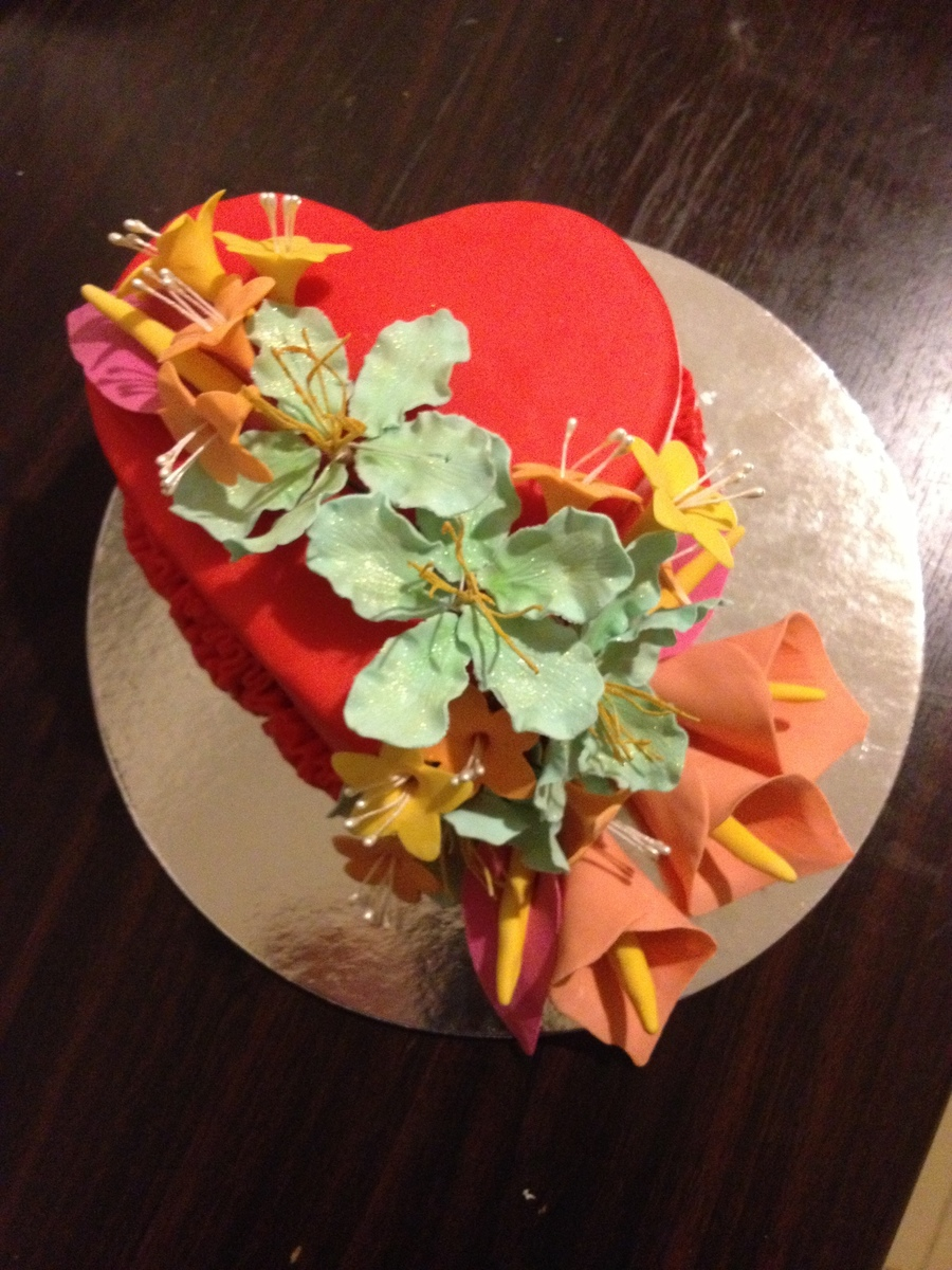 Heart Amp Flowers on Cake Central