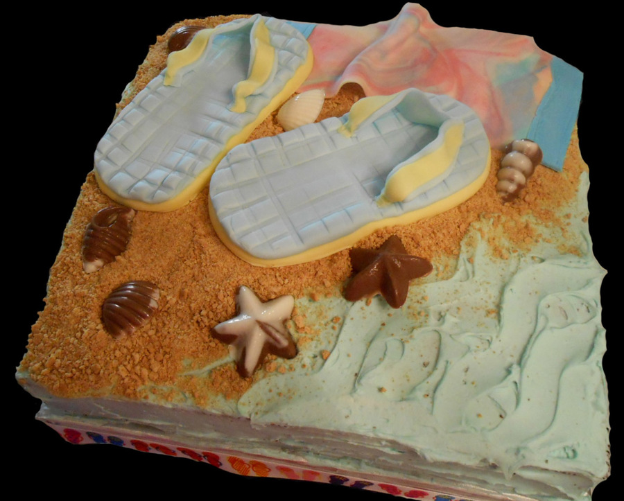 60Th Birthday Cake Chocolate Cake Rich Chocolate Mousse Filling Butter Cream Icing Graham Cracker Sand Fondant Flip Flops And Beach T on Cake Central