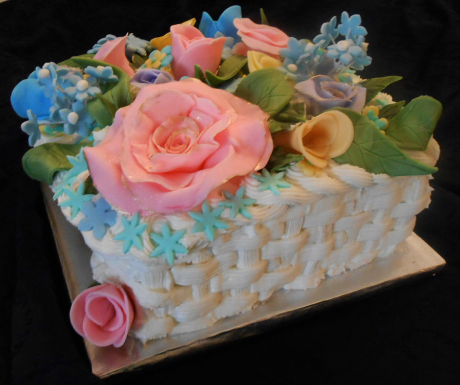 Moms 84th Birthday Cake Square Basket Weave Cake Lemon Cake