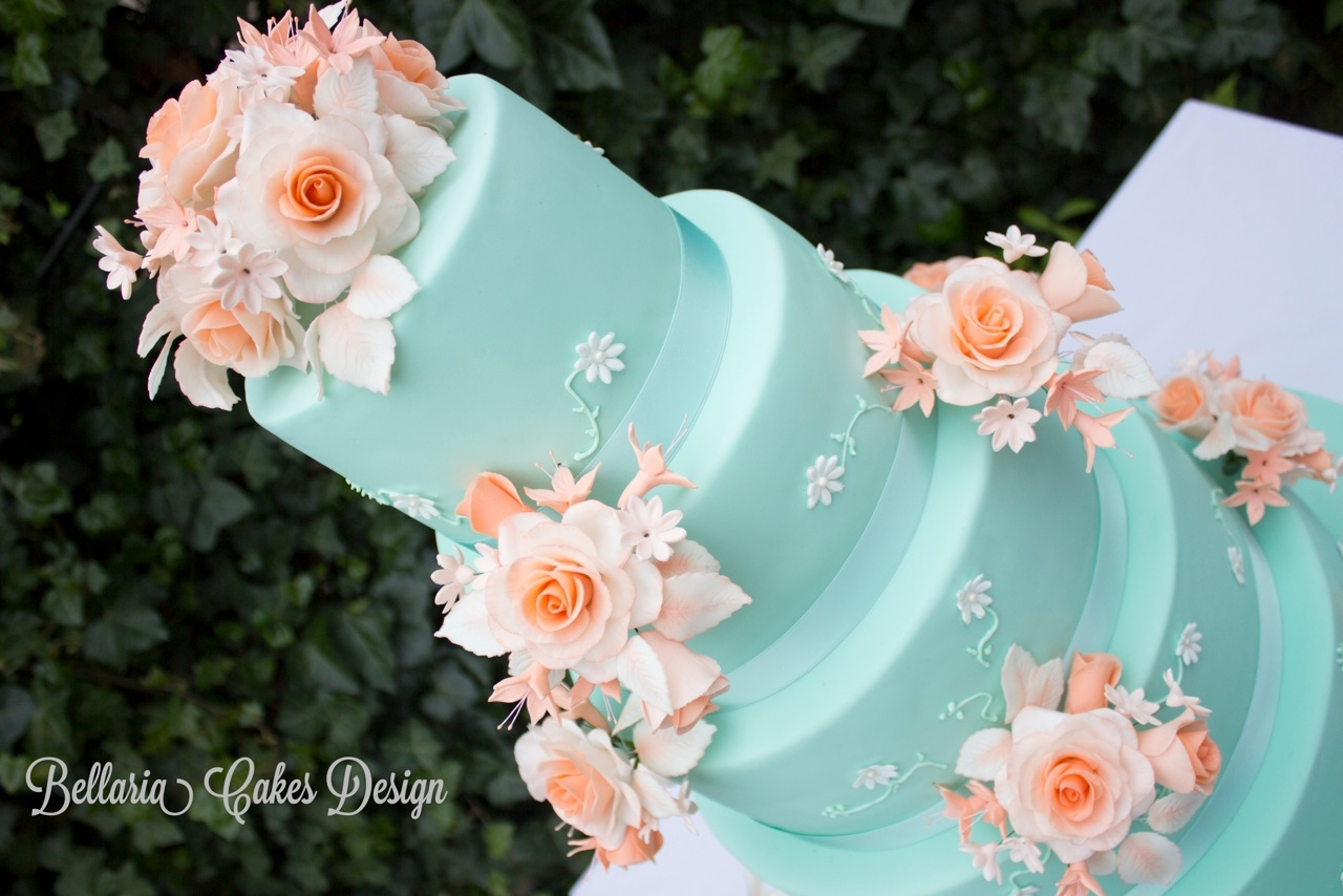 wedding cake peach and mint green 5 tier mintgreen and weddingcake cakecentral 23392