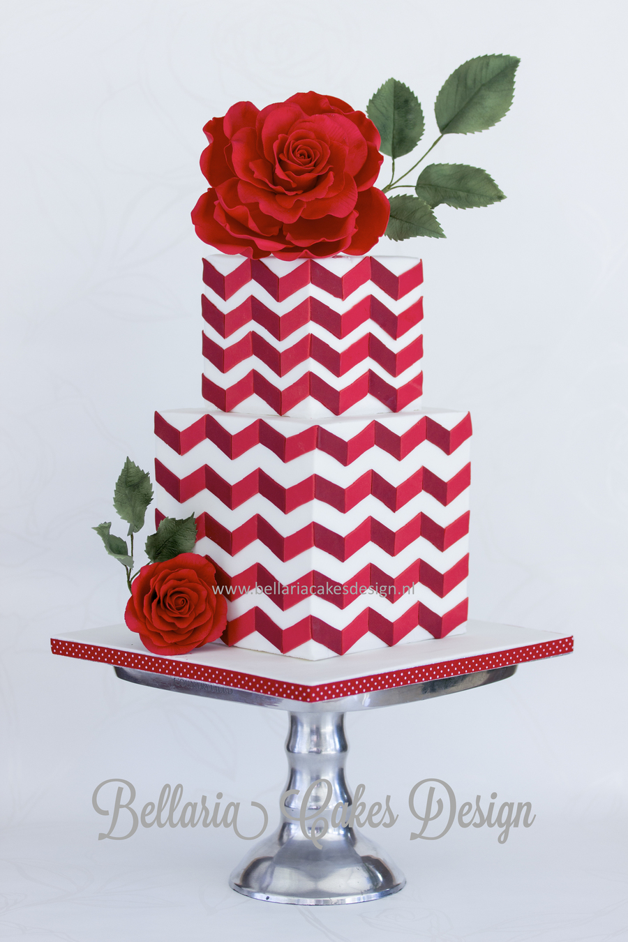 Red Chevron Cake With Big Rose Cakecentral Com