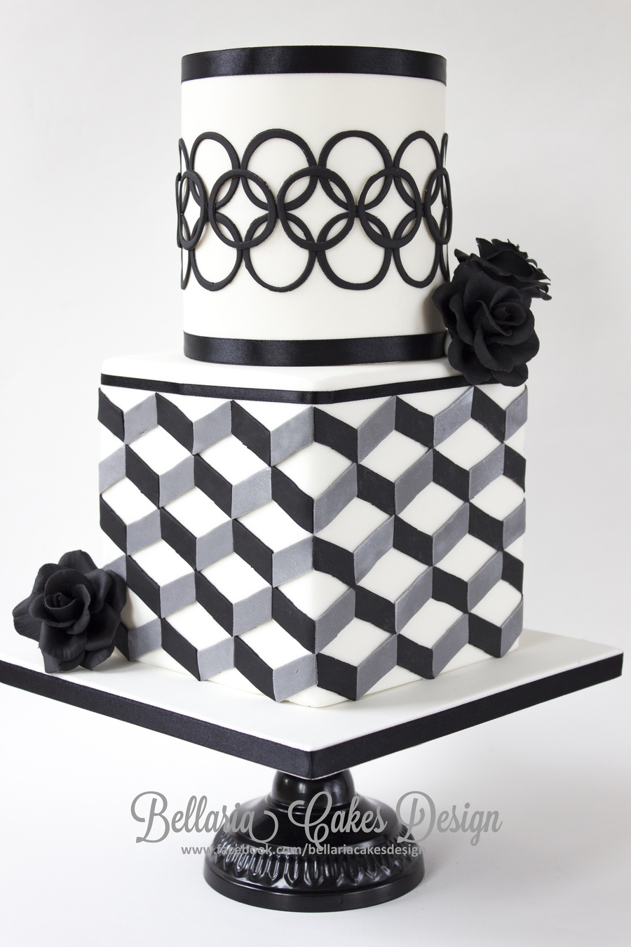 Modern Black And White Bridalshower Cake With Geometric