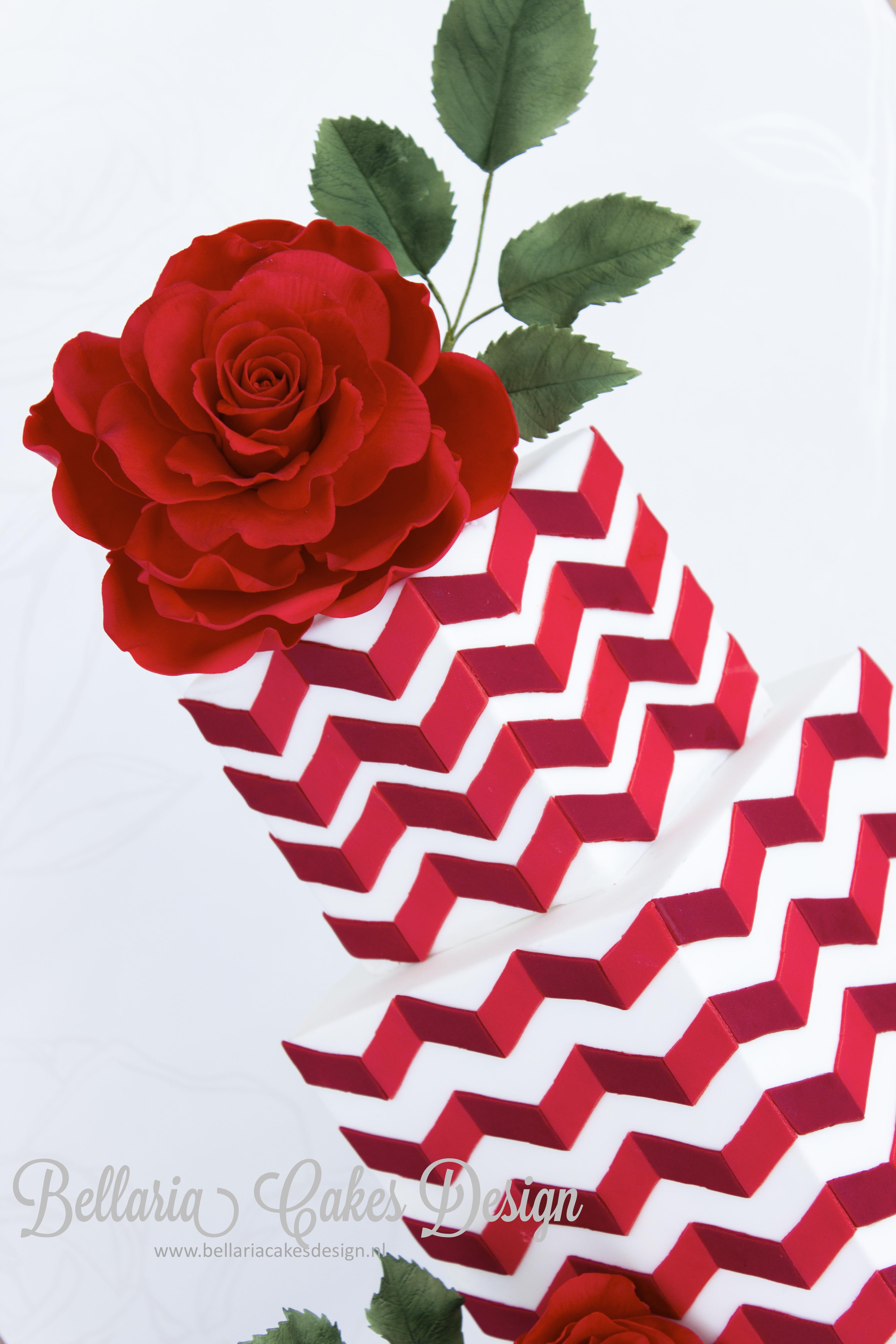Red Chevron Cake With Big Rose Cakecentral Com