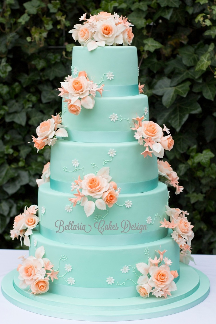 peach and light blue wedding cake 5 tier mintgreen and weddingcake cakecentral 18131