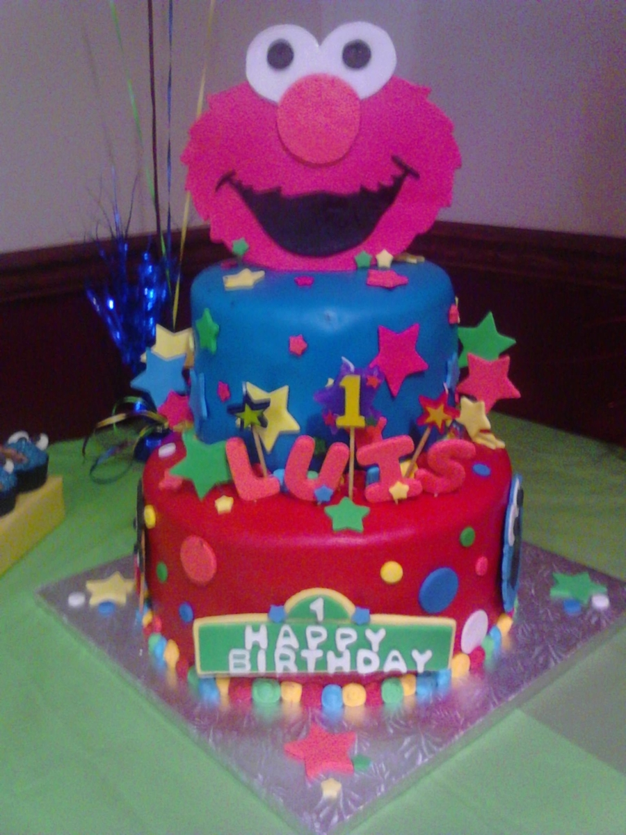 2 Tier Elmo Cake For My Nephews First Birthday Bottom Sesame St Sign N Characters Top Stars And Name