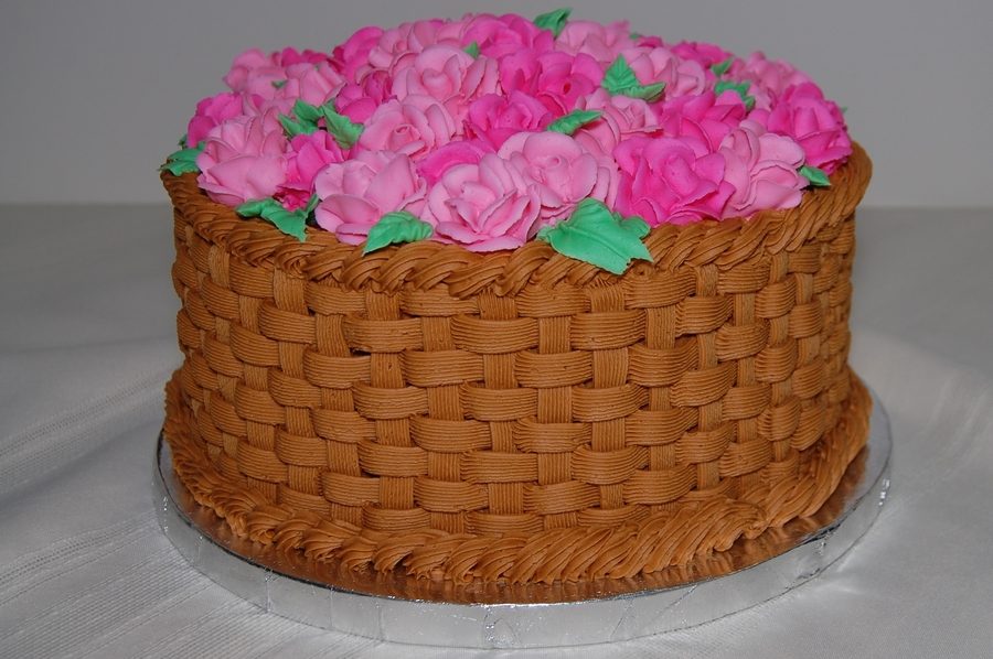 Basket Full Of Roses on Cake Central