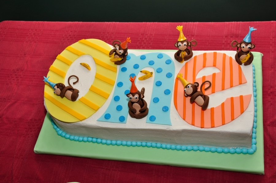 1St Birthday Monkey Cake on Cake Central