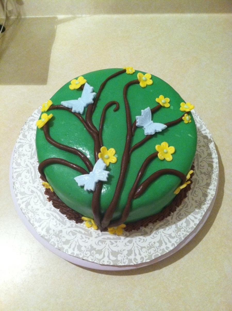 Tree Branches With Butterflies And Flowers Cake  on Cake Central