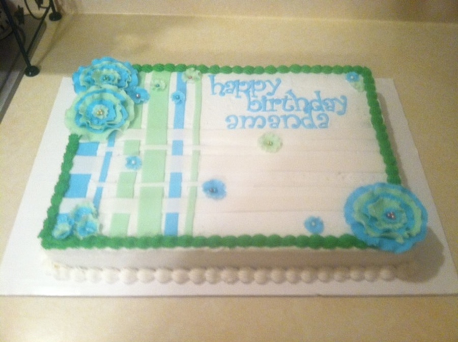 Blue And Green Birthday Sheet Cake Cakecentral Com
