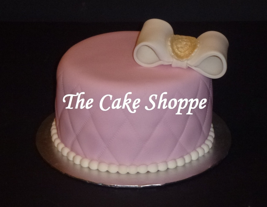 Pink Cake W/white Bow  on Cake Central