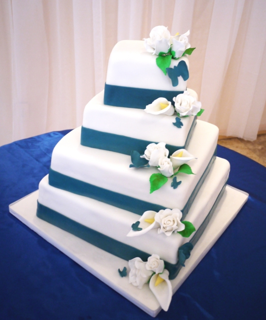 Simple Wedding Cake - Flowers & Butterflies on Cake Central