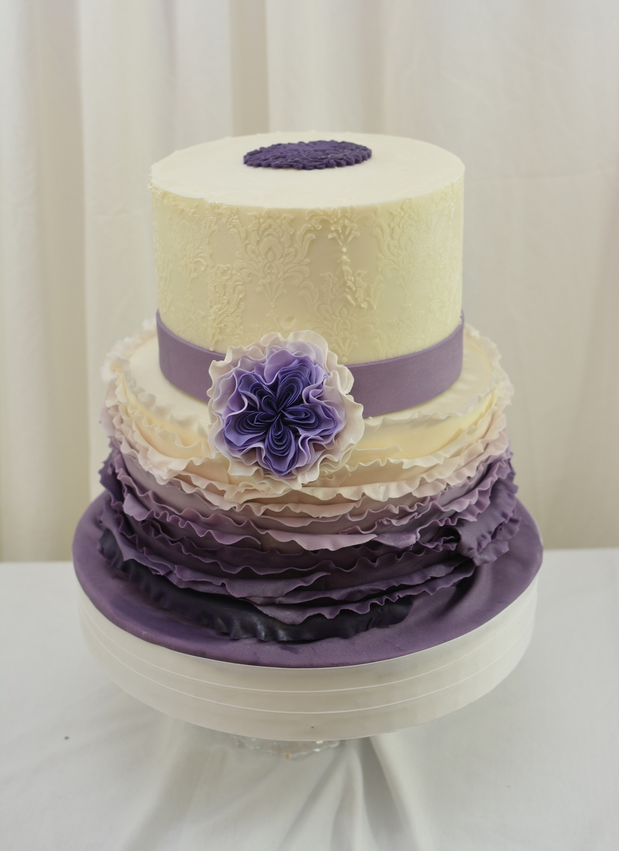 10 And 8 Cake Finished In Buttercream With Fondant Frills And Gumpaste Flower And Buttecream Stenciling on Cake Central