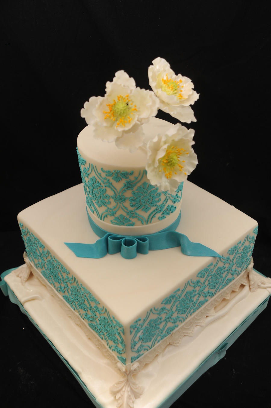 My Client Sent A Picture Of A Gorgeous Printed Damask Cake By By Ellen Baumwoll Bijouxdouxcom This Cake Is Inspired By That Picture I Di on Cake Central