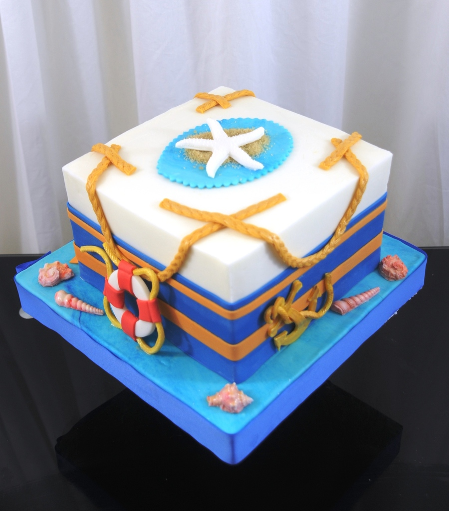 Nautical Themed Cake 8 Inch Finished In Buttercream Fondant Border And Accents on Cake Central