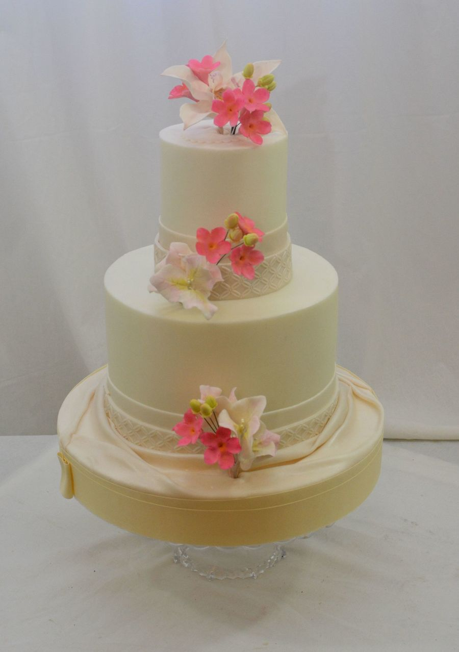 Tropical Sugar Flowers In Pink 8 And 4 Buttercream Finish Fondant Accents on Cake Central