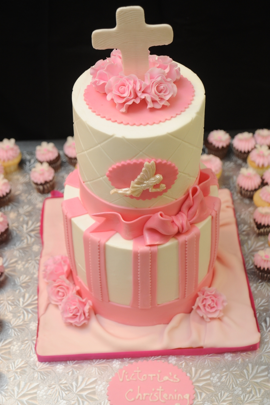 Pink Christening Cake on Cake Central