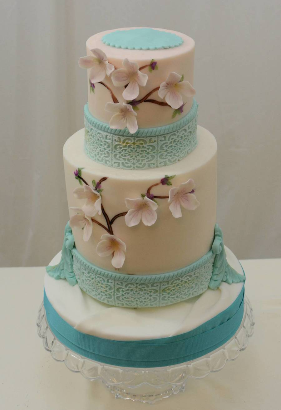 Teal And Cream With Lavender Blossoms on Cake Central