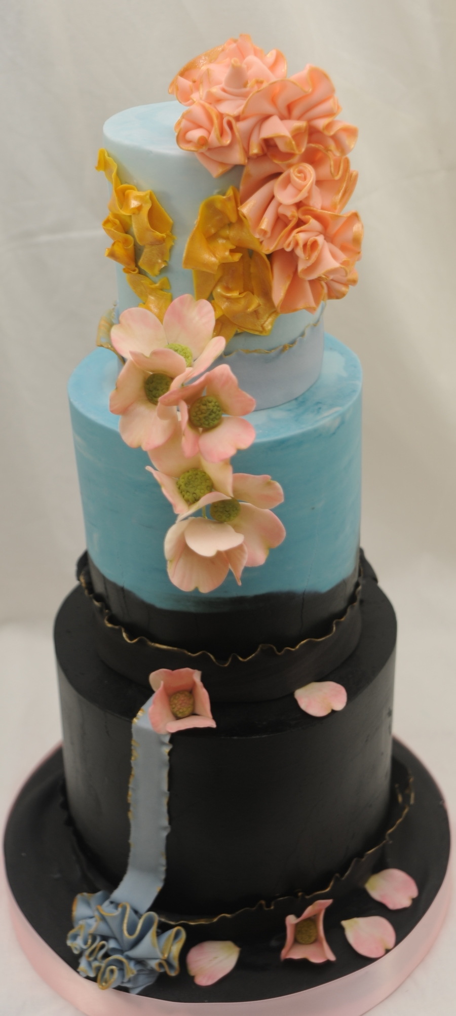 This Is A 4 6 And 8 Inch Cake Finished In Buttercream With Fondant Accents And Stylized Gumpaste Dogwood Flowers This Cake Is Inspired By  on Cake Central