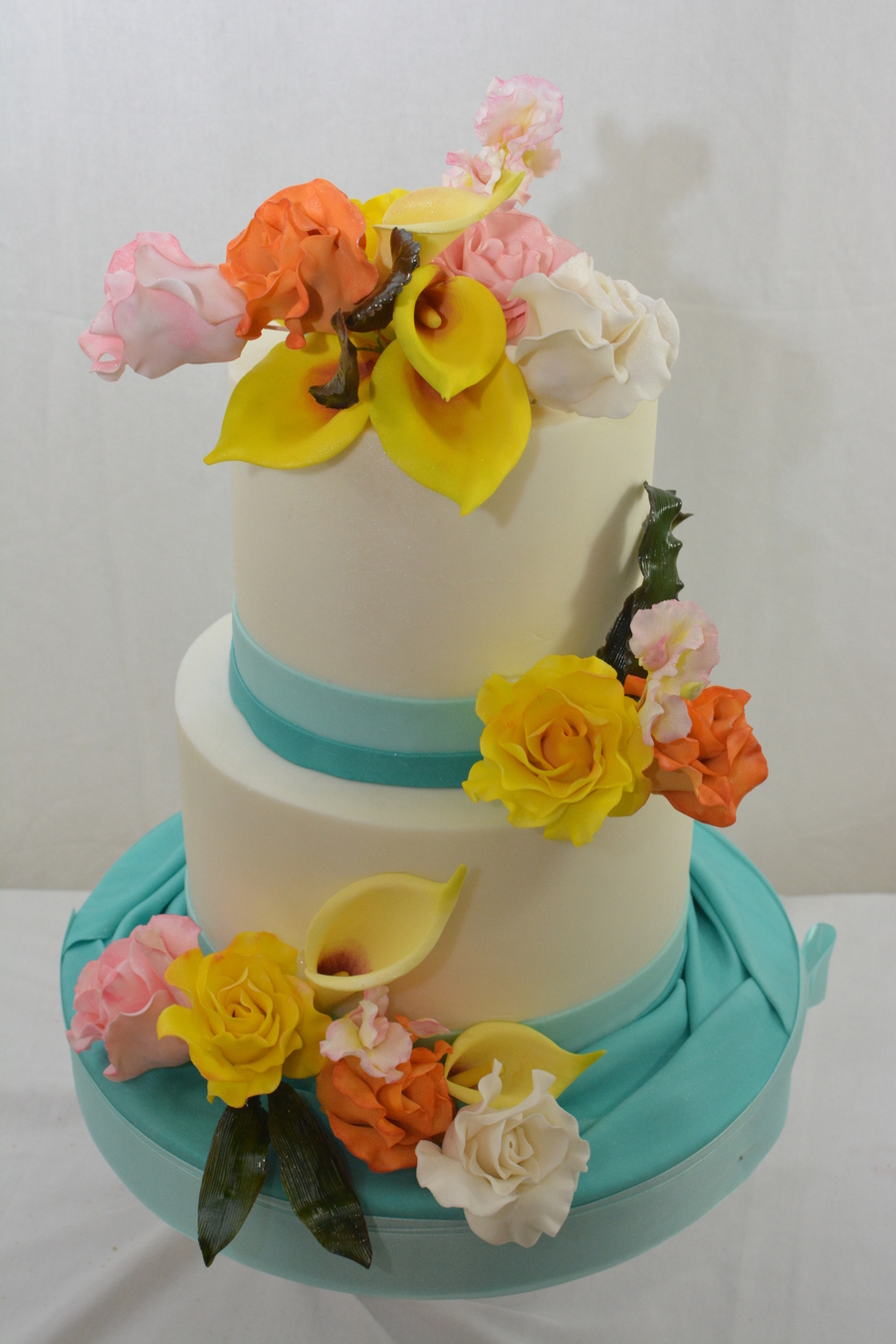6 And 8 Inch Cake Finished In Buttecream Fondant Accents And Gumpaste Flowers on Cake Central