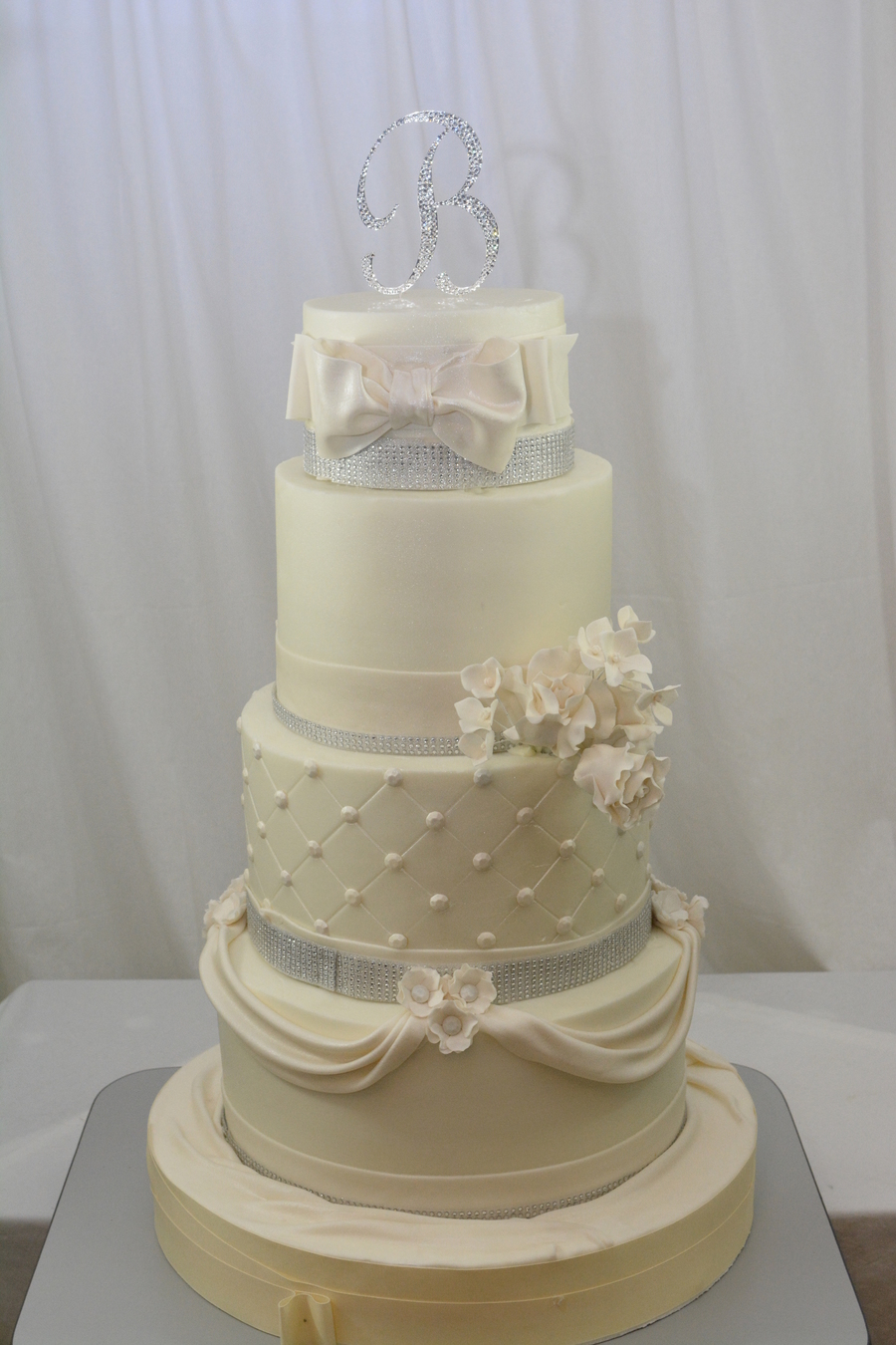 This Was A Very Large Cake Too Large To Move In To A Good Spot For Taking Pictures Finished In Buttercream With Fondant Bow Swags And Gump... on Cake Central