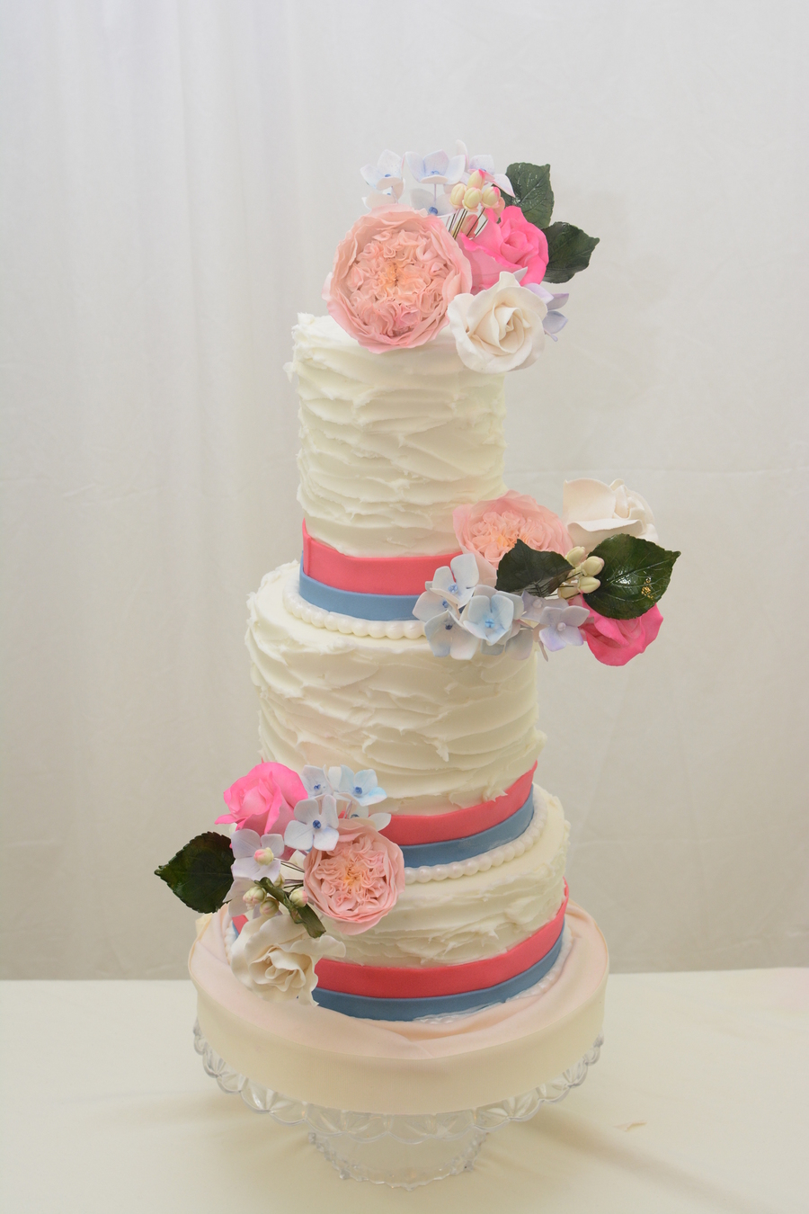 86 And 4 With A Rustic Finish Fondant Accents And Sugar Hydrangea Rose And Sweet Juliet Rose on Cake Central