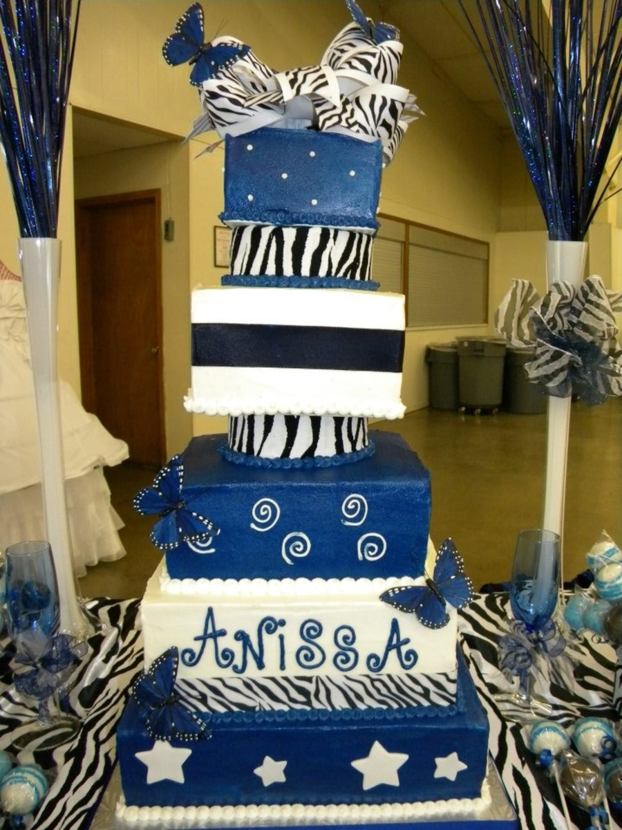 Blue And Zebra  on Cake Central