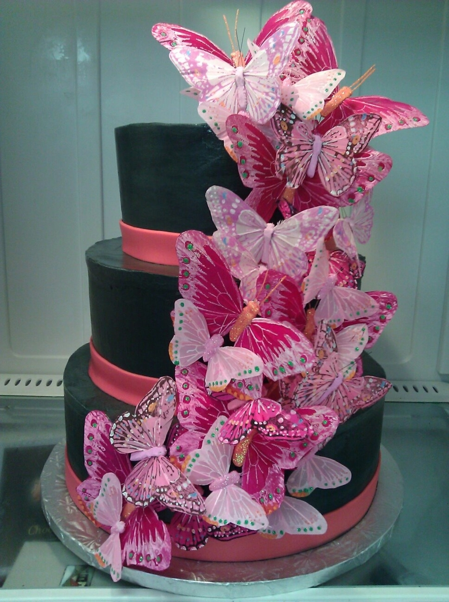 Black And Pink Buttefly Cake on Cake Central