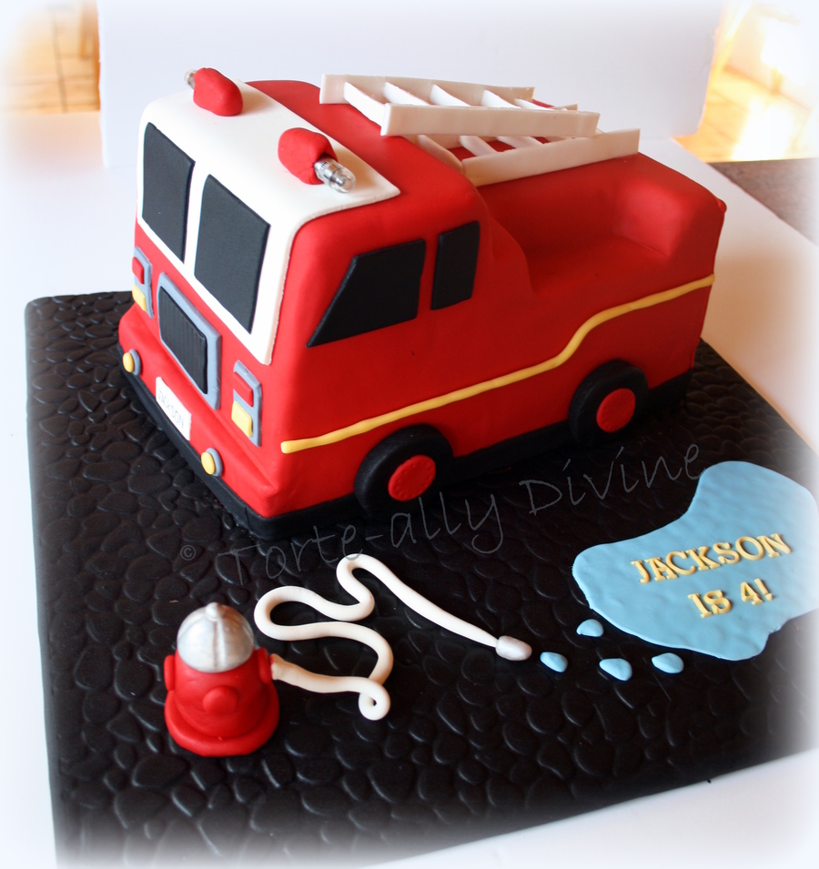 Fire Engine Cake For My Little Mans 4Th Birthday All Edible Except The Little Led Lights On Top Loved Making This One on Cake Central