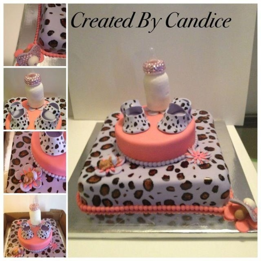 Red Velvet Cake With Vanilla Buttercream Hand Painted Leopard Spots With Gumpaste Shoes Pacifier Baby And Flowers  on Cake Central