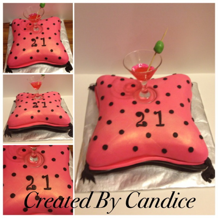 Yellow Cake With Strawberry Buttercream Real Martini Glass Filled With Pink Isomalt And Fondant Olive on Cake Central