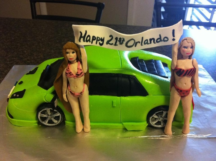 My 1St Car Cake Carved From 2 Qty 14 Sheet Cakes Please Look Past The Bikini Girls I Am Still Learning How To Make Figurines Out Of Gu on Cake Central