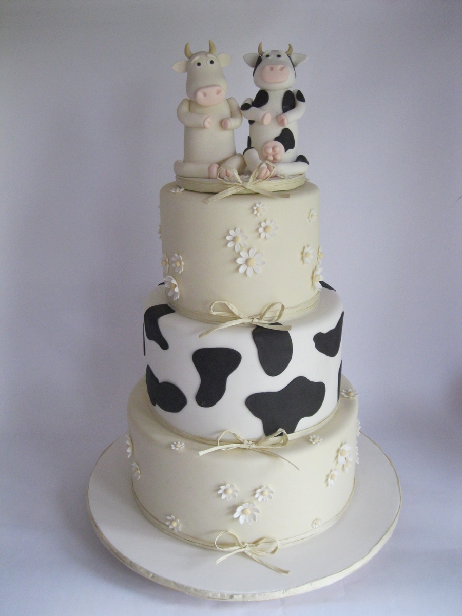 Cow Themed Wedding Cake Adapted From An Original This Isnt My Design But I Dont Know Whos It Is I Searched For It But Was Unable To Fin on Cake Central