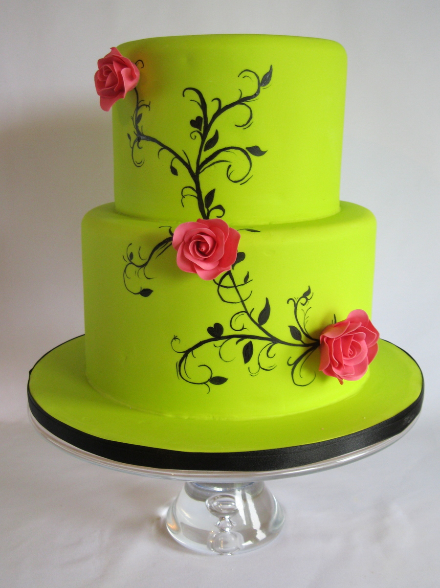 Lime Green Wedding Cake With Handpainting. on Cake Central