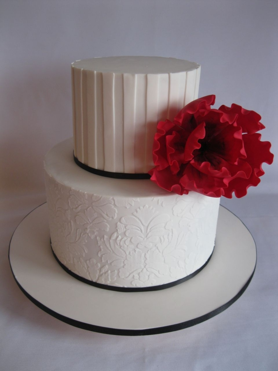 White On White Cake With Red Flower  on Cake Central