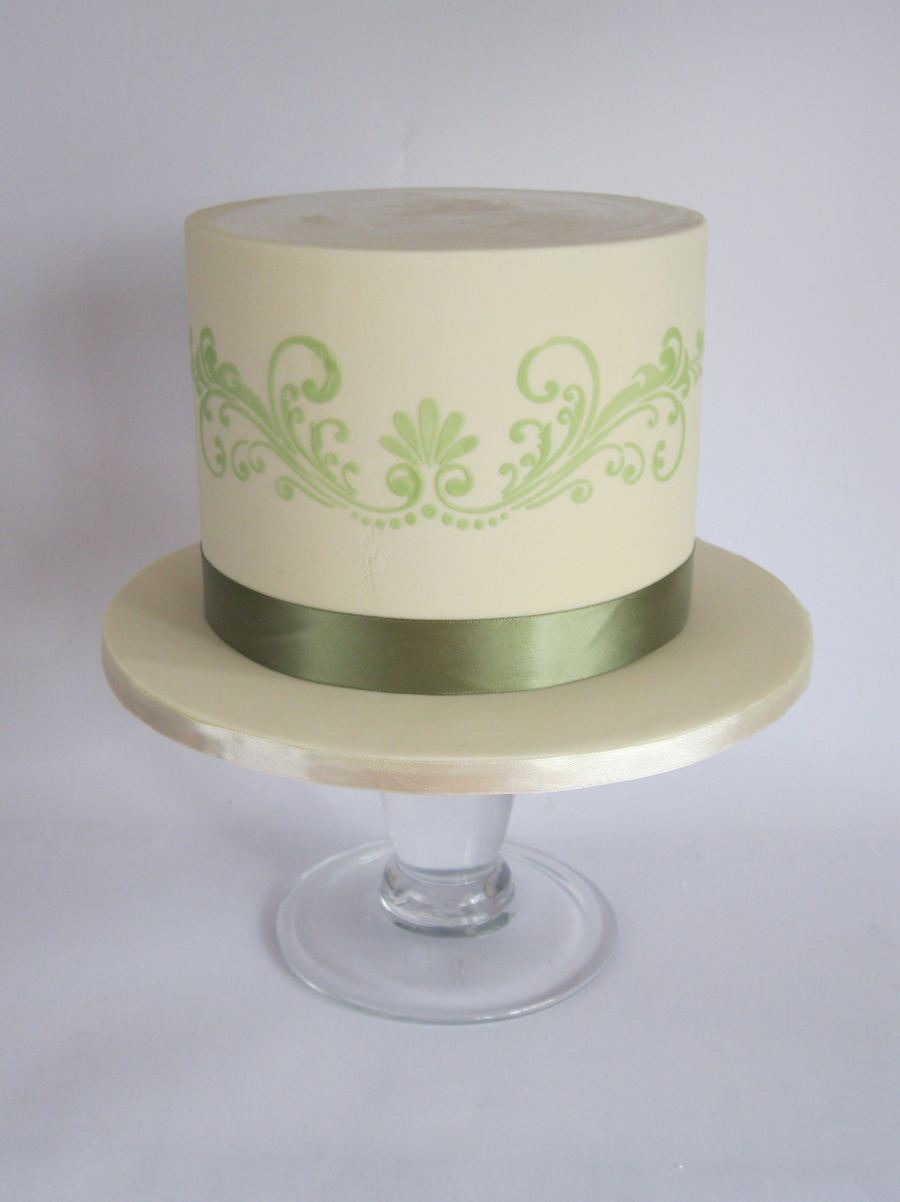 A Simple Small Birthday Cake In Cream And Avacado Colours on Cake Central