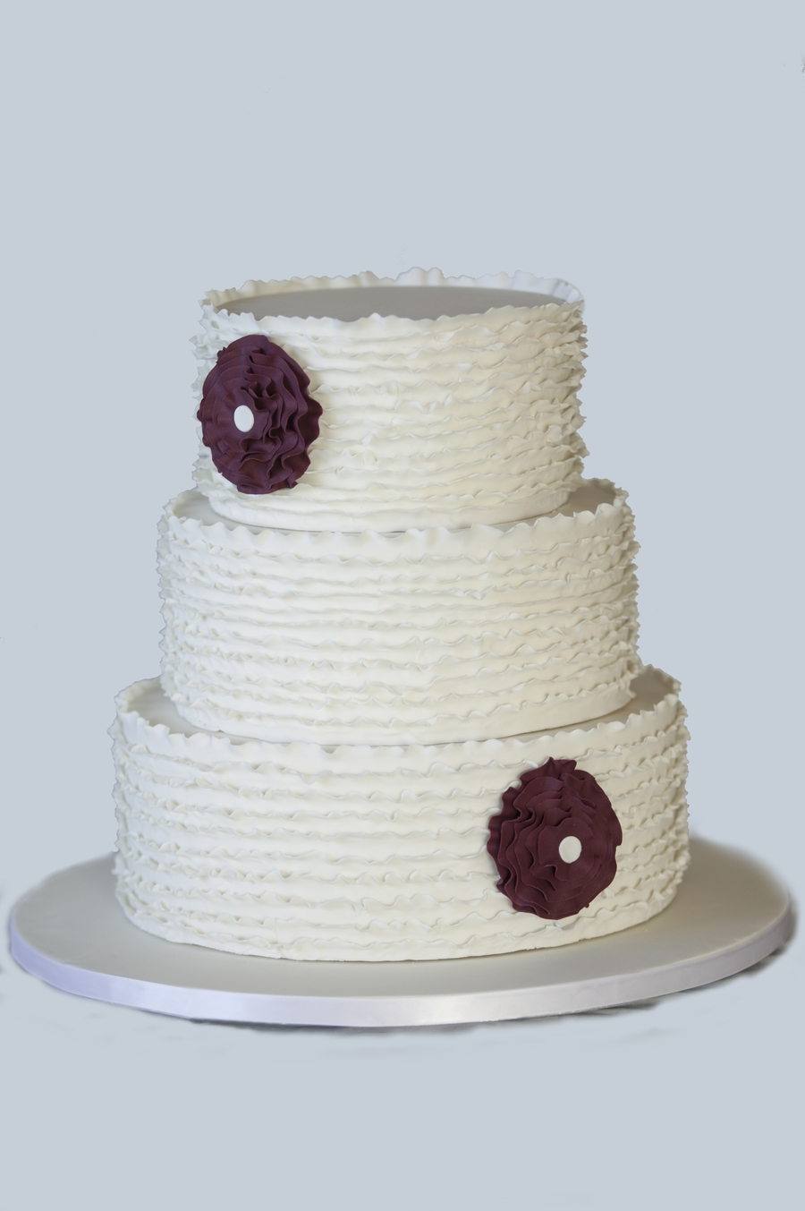White Ruffles And Deep Wine Ruffle Flowers on Cake Central
