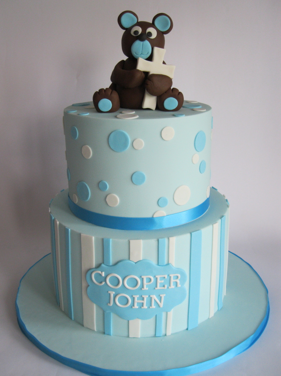 Baptism Cake For A Friends Son Inspiration Taken From Inspired By Michelle on Cake Central