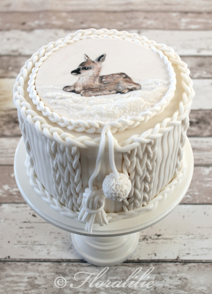 """knitted"" Cake With Painted Fawn on Cake Central"