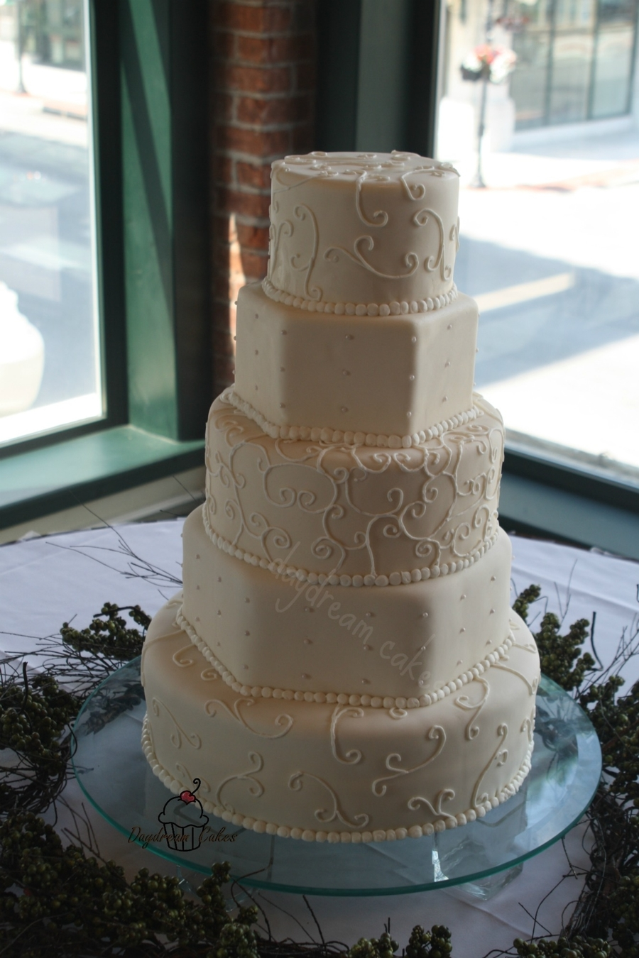 Five Tiered Hand Piped With Edible Pearls  on Cake Central