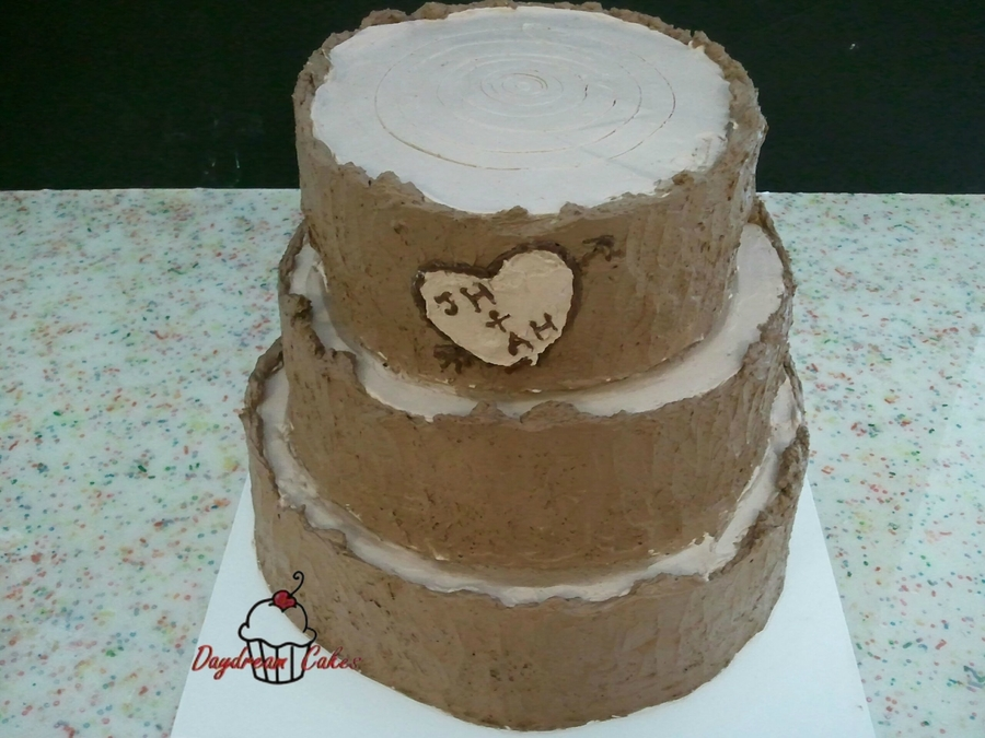 Three Tiered Stump Wedding Cake on Cake Central