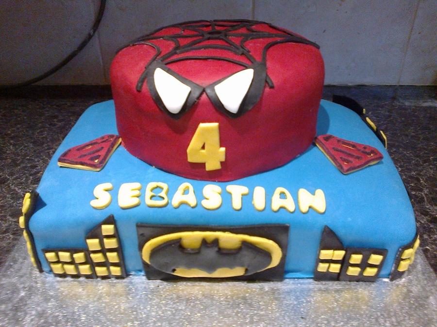 Brilliant Spiderman Amp Batman Superhero Cake For 4 Year Old Boy Personalised Birthday Cards Beptaeletsinfo
