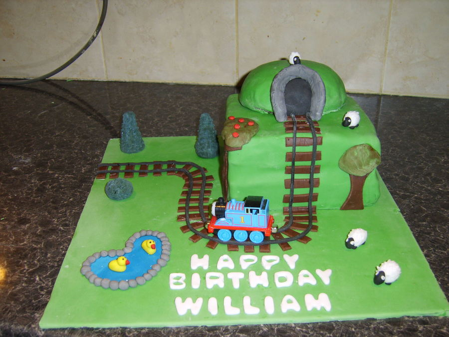 This Is A Thomas The Tank Engine Cake For My Friends Little Boy It Is All Made From Fondant Except Thomas The Train Track Was Easier Tha on Cake Central