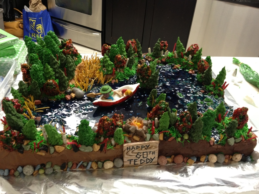 Forest Lake And Canoe Cake Cakecentral Com